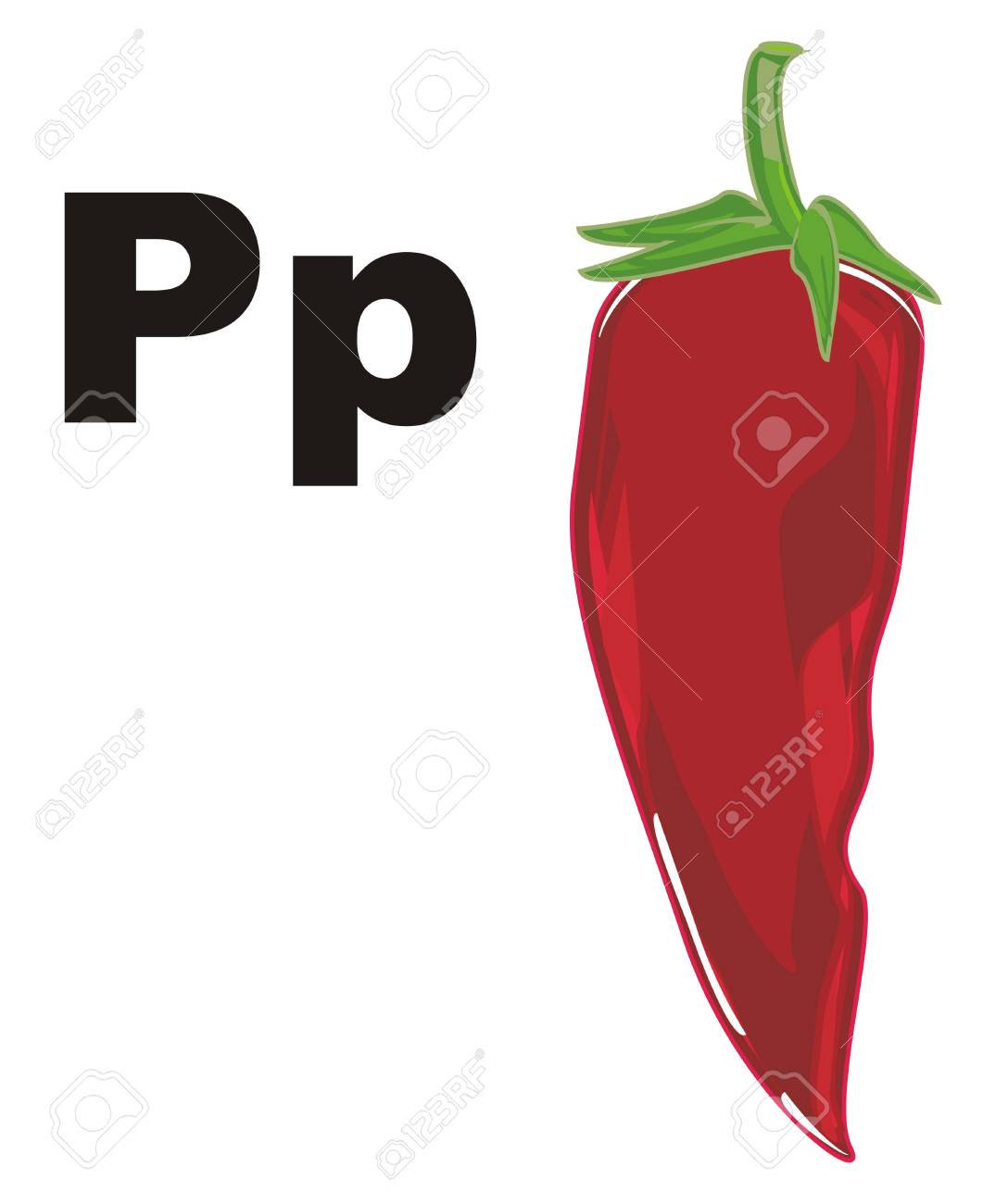 red chili pepper and black letters p stock photo picture and