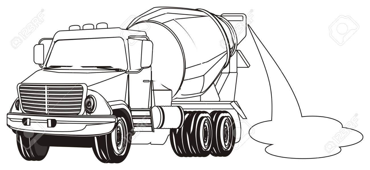 coloring cement truck with puddle