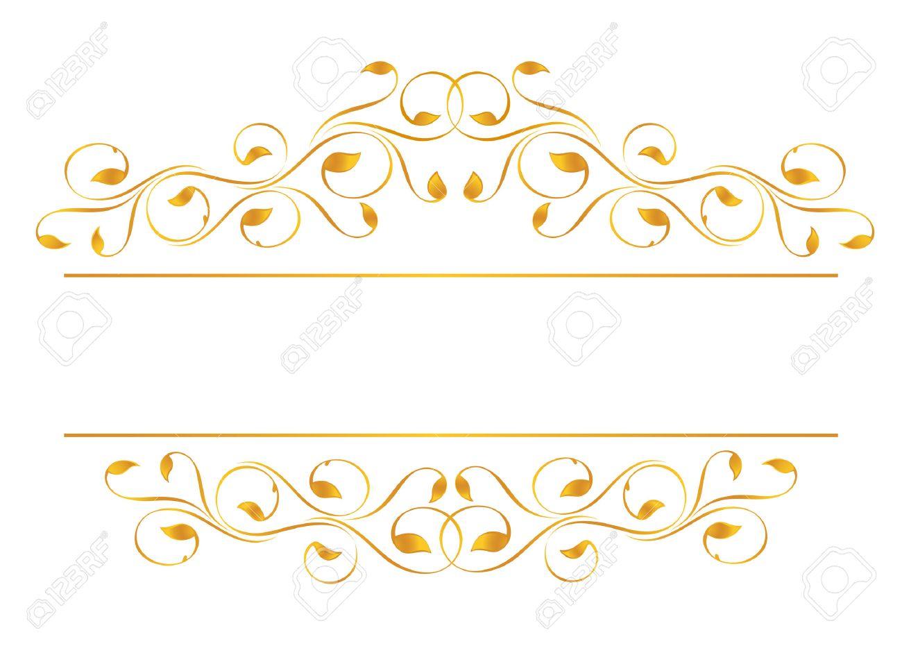 Vintage Frame In Gold Symmetric Inward Vector Illustration Stock