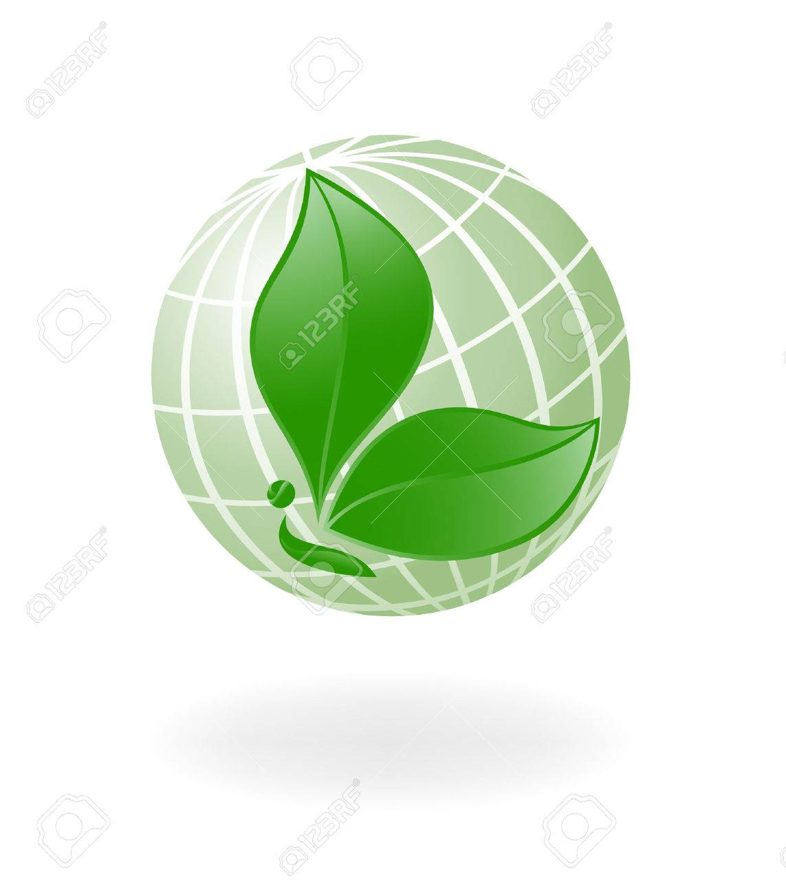 Green-Planet. Globe with the plant-. Vector-Illustration Stock Vector - 3353508