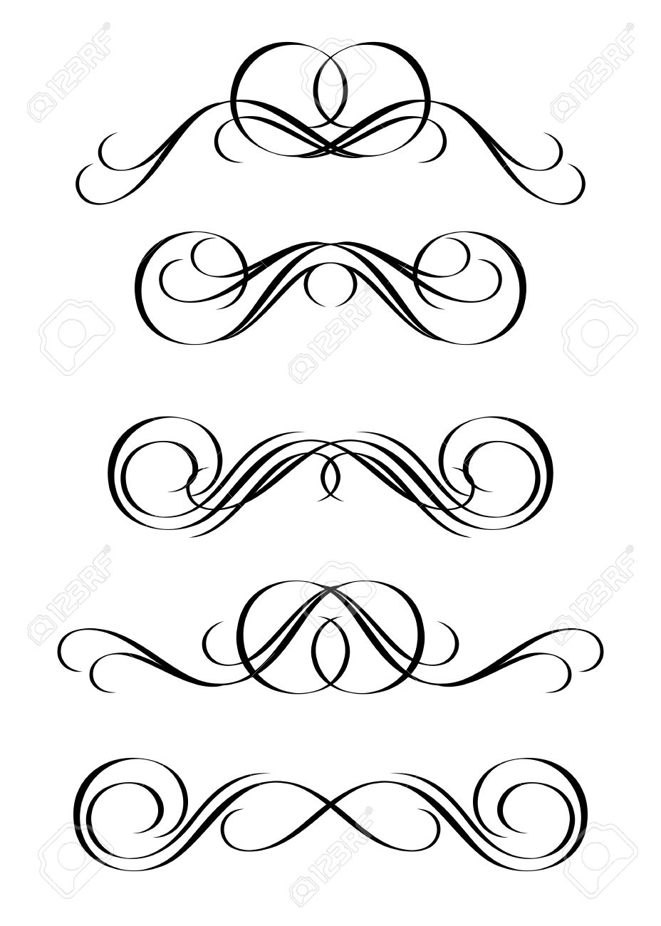 5 versions of abstract ornament in vintage style Stock Vector - 3404656