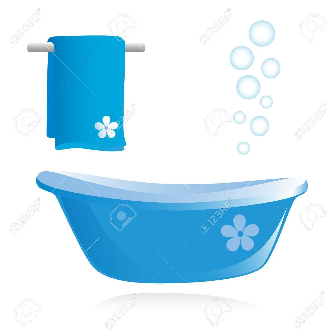 Bathtub and towel. Vector illustration Stock Vector - 3585478