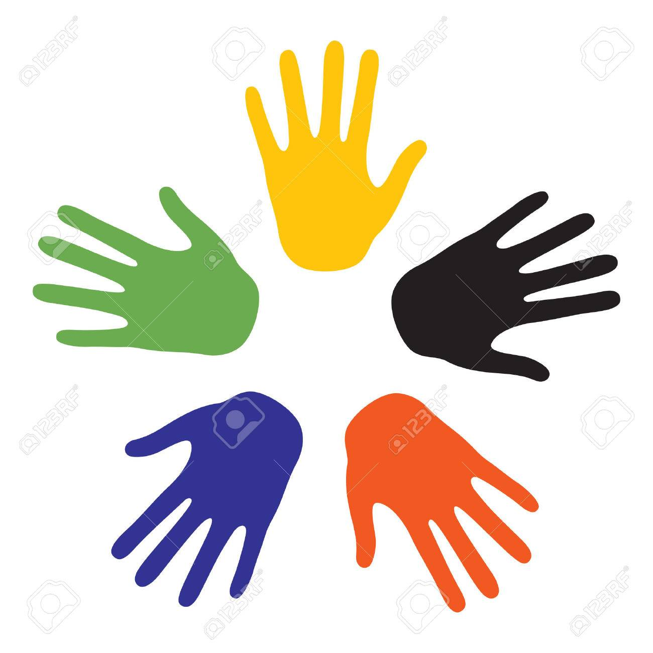 Hand signs with the colors of the five continents. Vector-Illustration Stock Vector - 5329759
