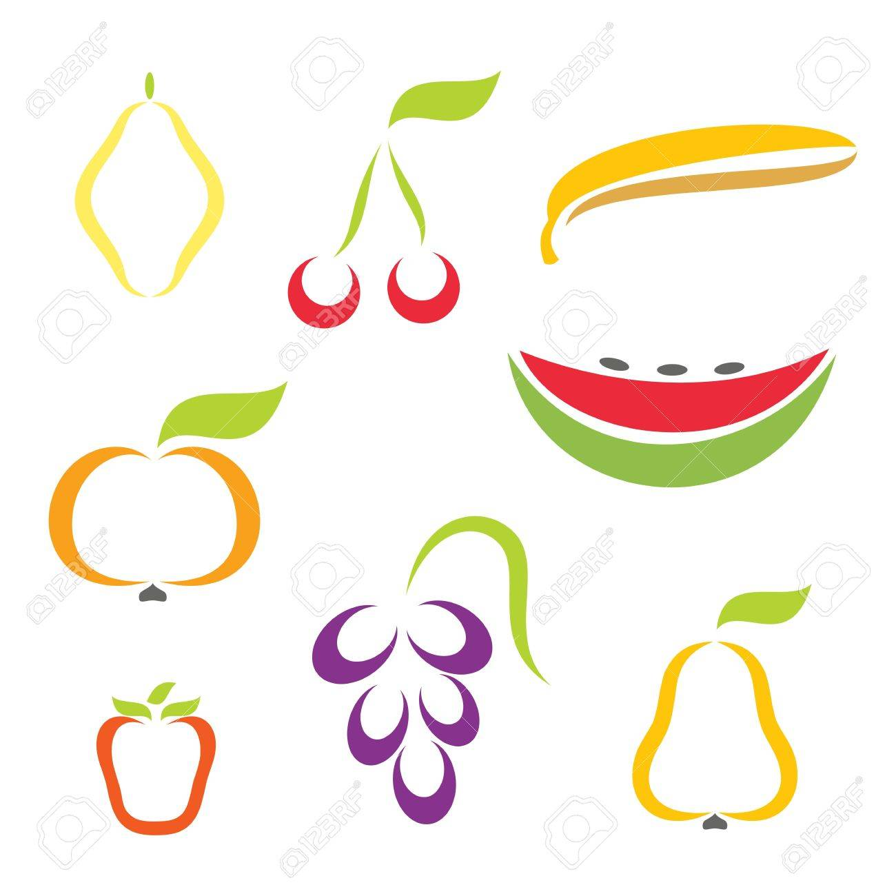 Silhouette icons of various fruit. Stock Vector - 6823497