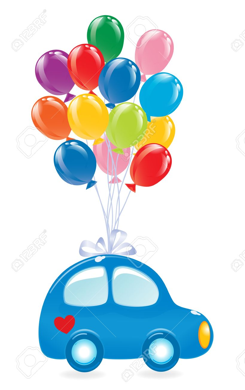 the car with balloons vector illustration royalty free cliparts rh 123rf com Heart Designs Clip Art White Heart