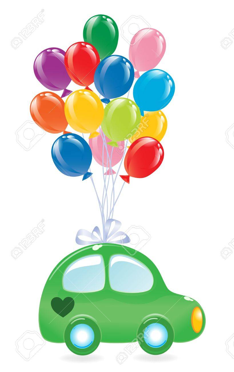 The green's car with balloon's. - 11937110