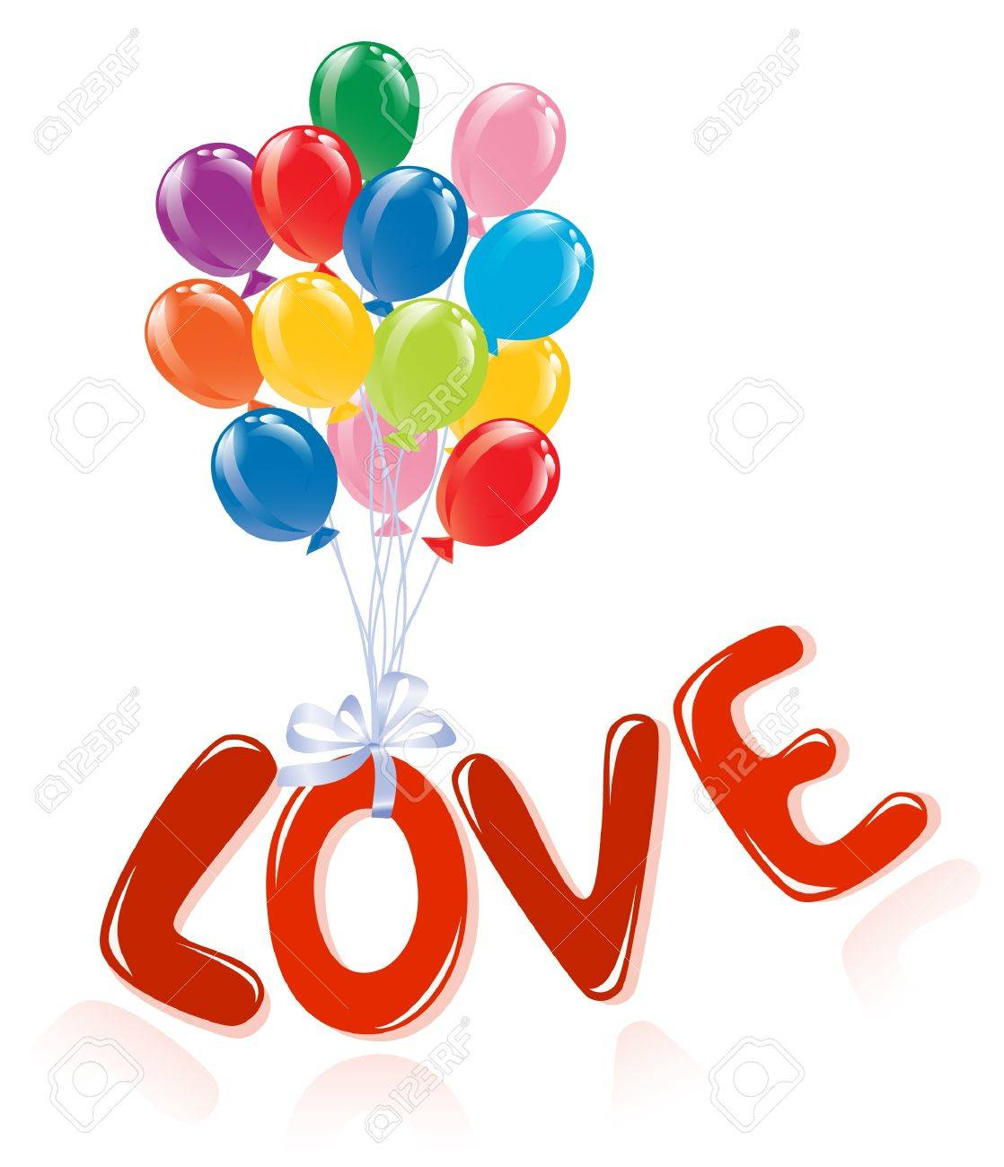 Love message with ballons. Stock Vector - 11937107