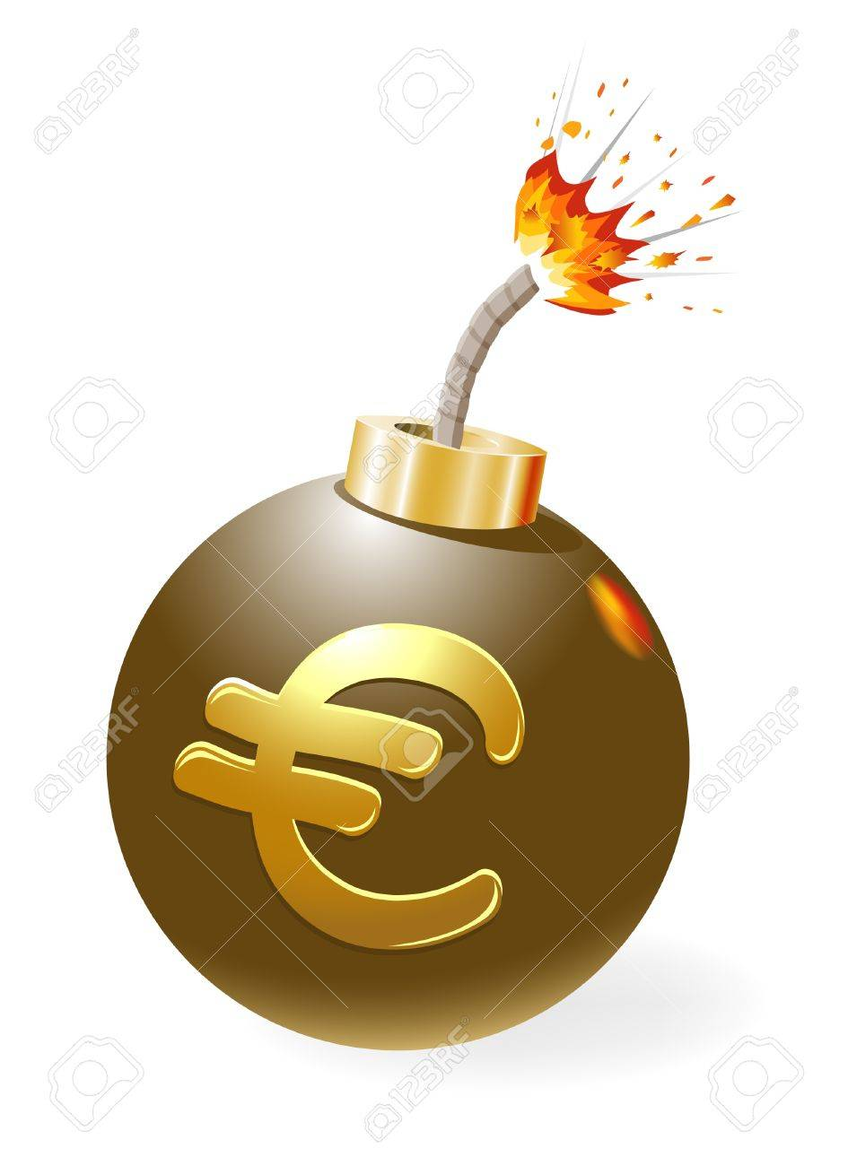 Ignited bomb, euro in the stage of crisis. Stock Vector - 11994378