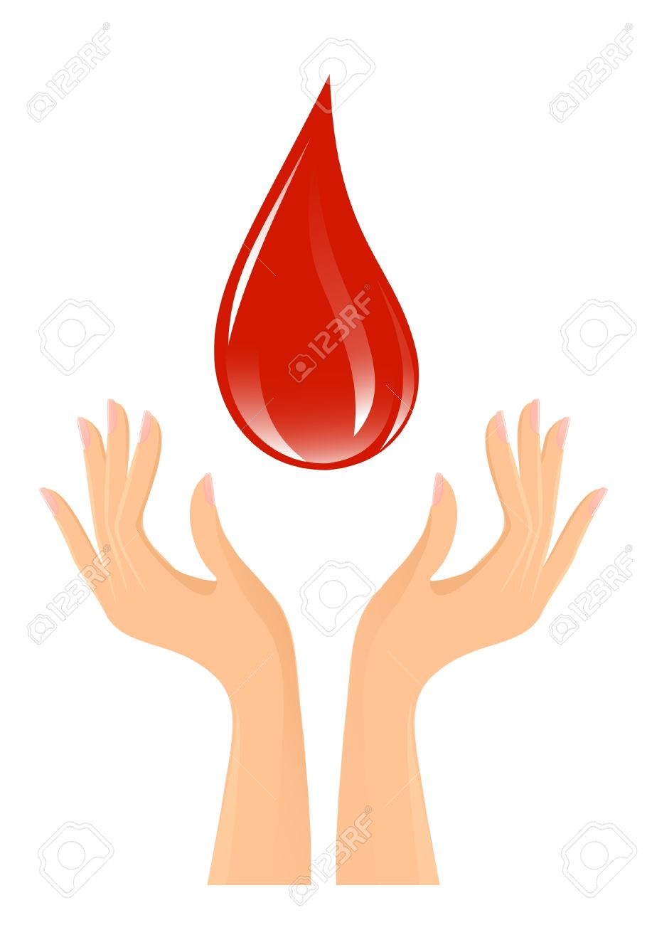 Blood drop and hands Stock Vector - 12005788