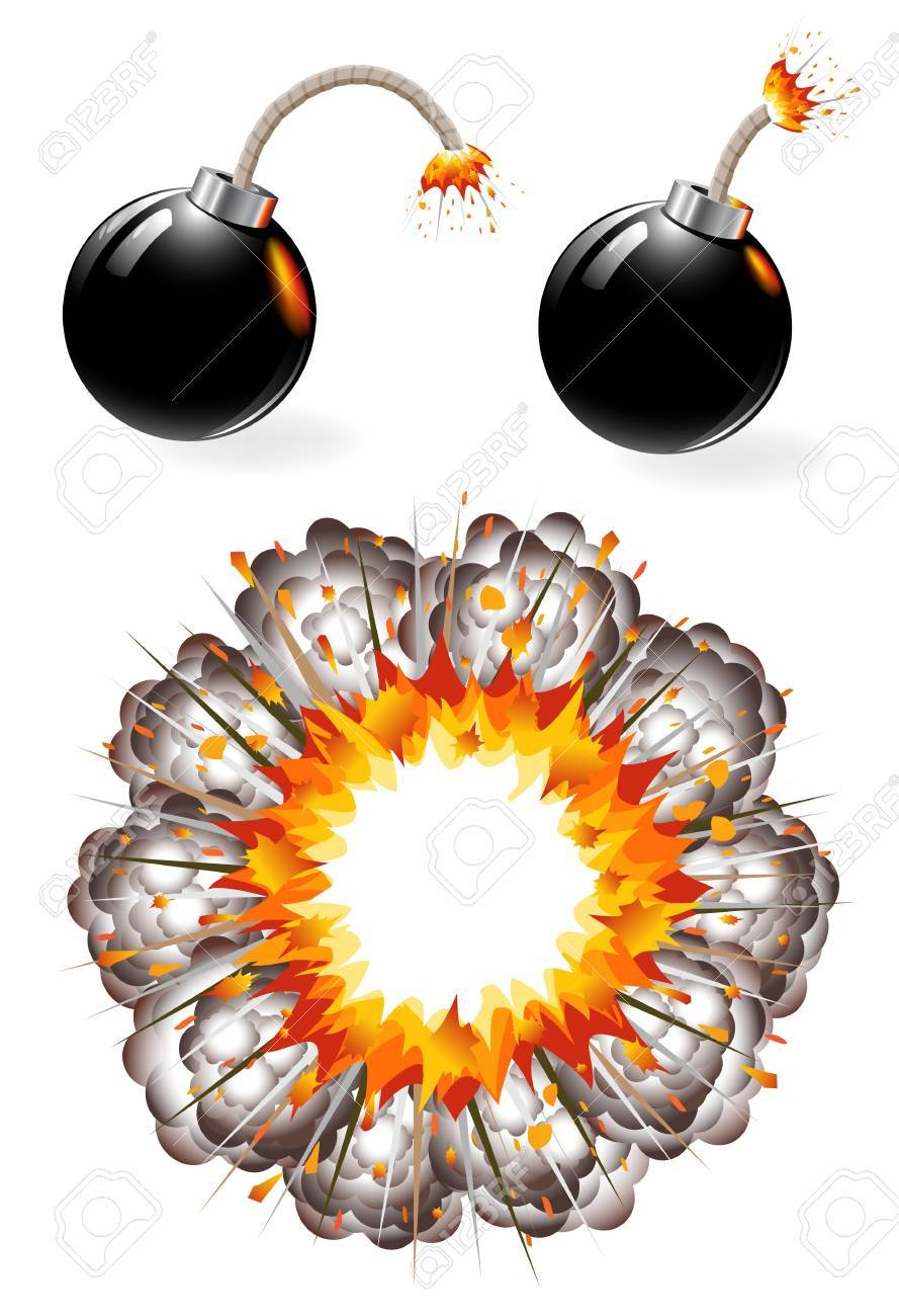 Set of burning black bombs and explosion Stock Vector - 12061230