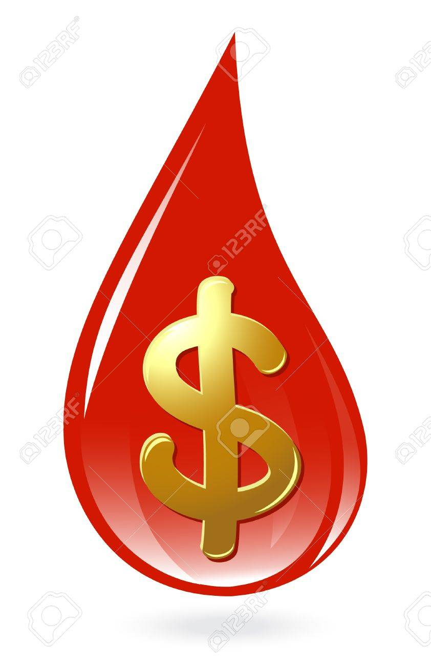 Blood drop with dollar symbol Stock Vector - 12298495