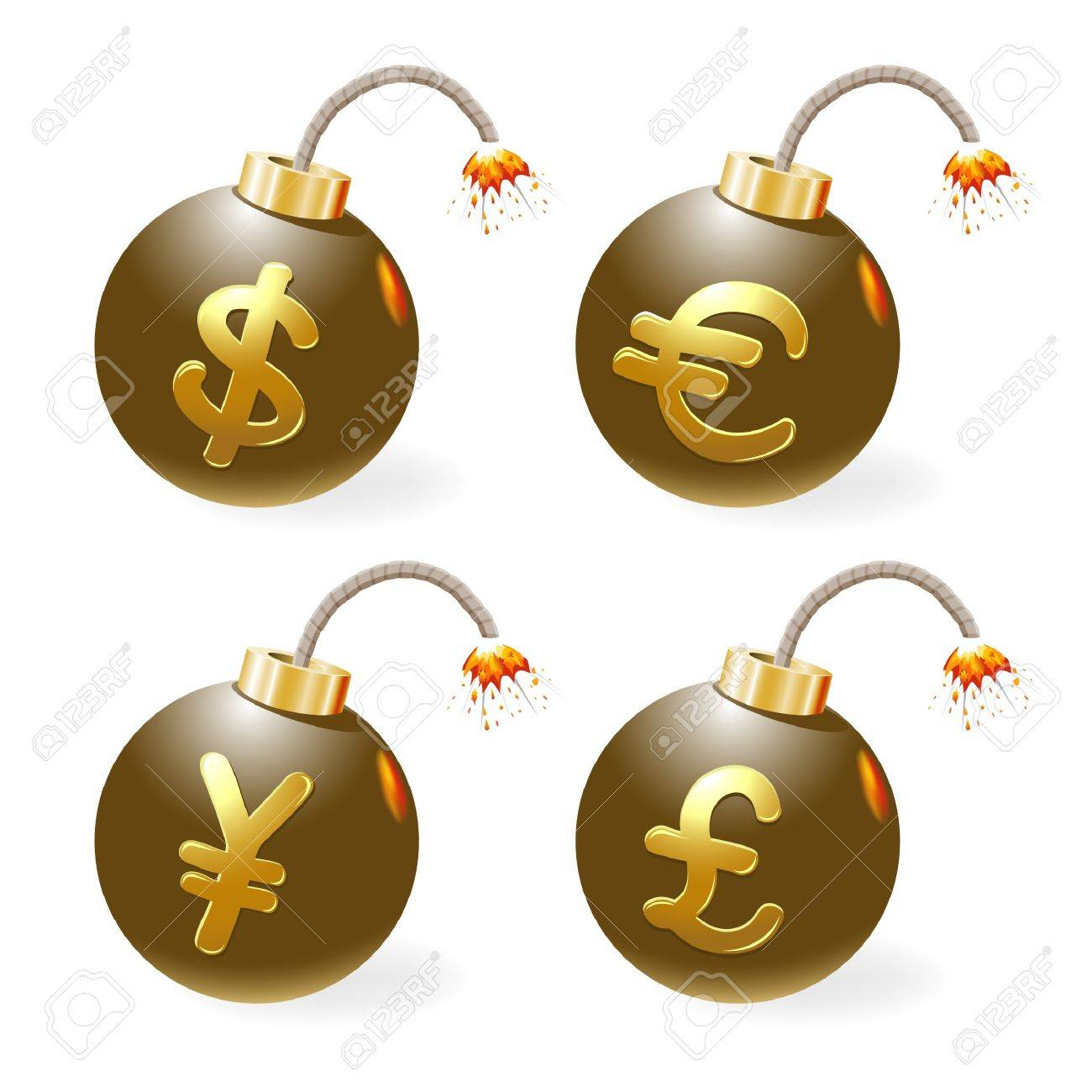Set of ignited bombs with currency-symbols Stock Vector - 12298489