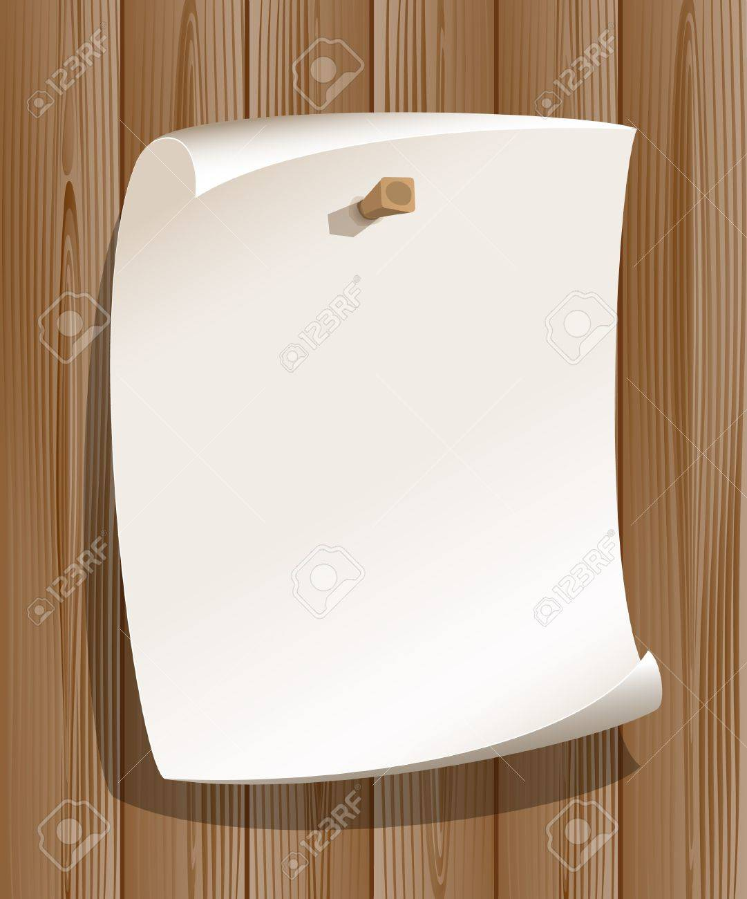 Paper on wood background Stock Vector - 13318244