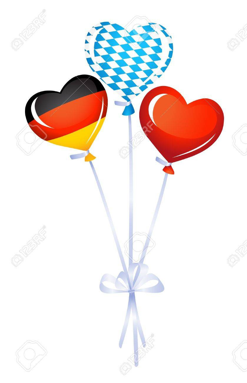 Heart balloons in germany and bavarian colors Stock Vector - 14846785