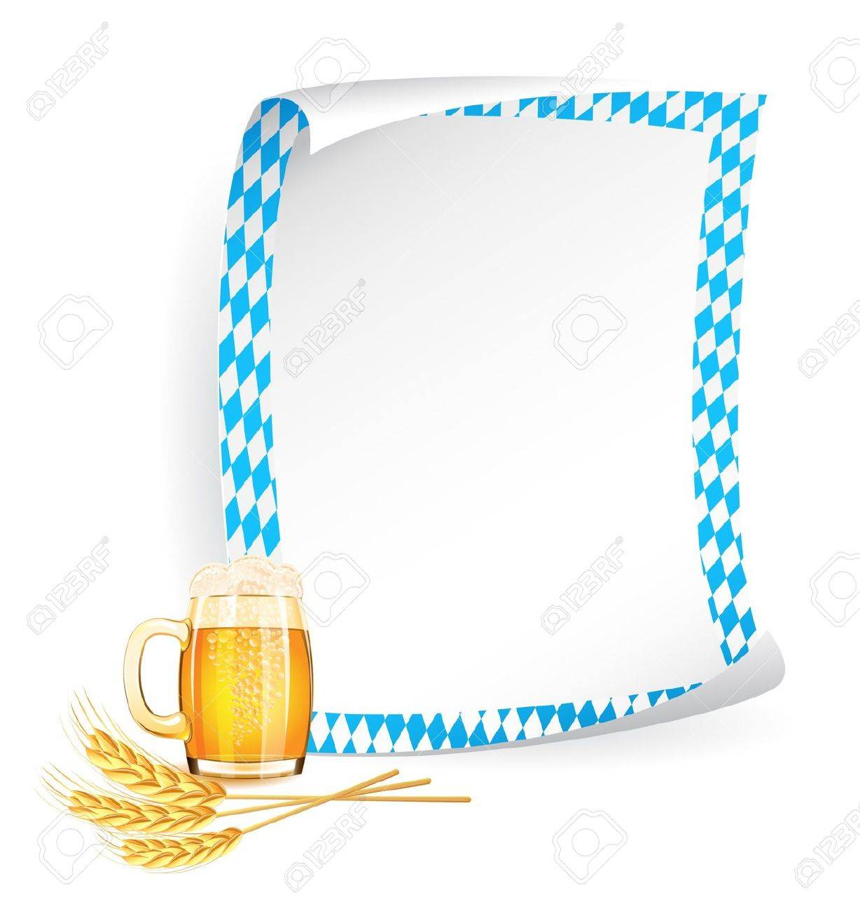 Paper board in bavarian colors with beer mug and wheat ears Stock Vector - 14882841