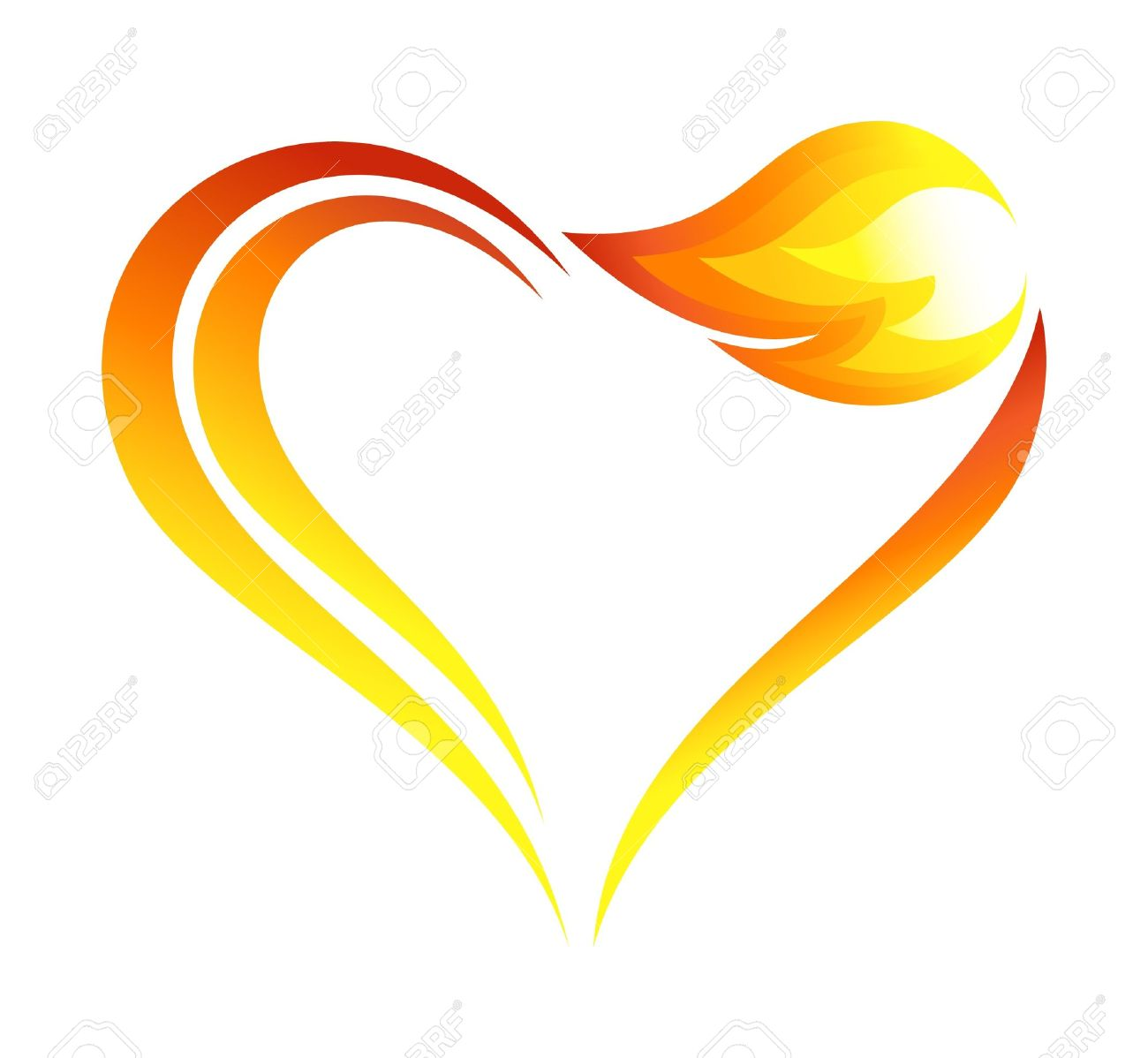 Abstract fire flames icon with heart element Stock Vector - 15251893