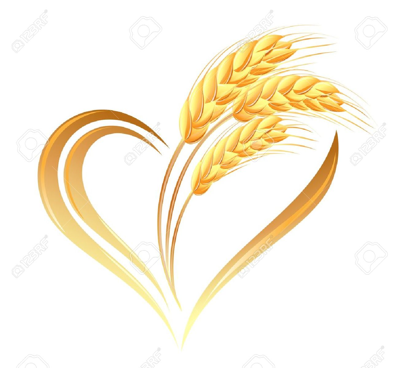 Abstract wheat ears icon with heart element - 15251903