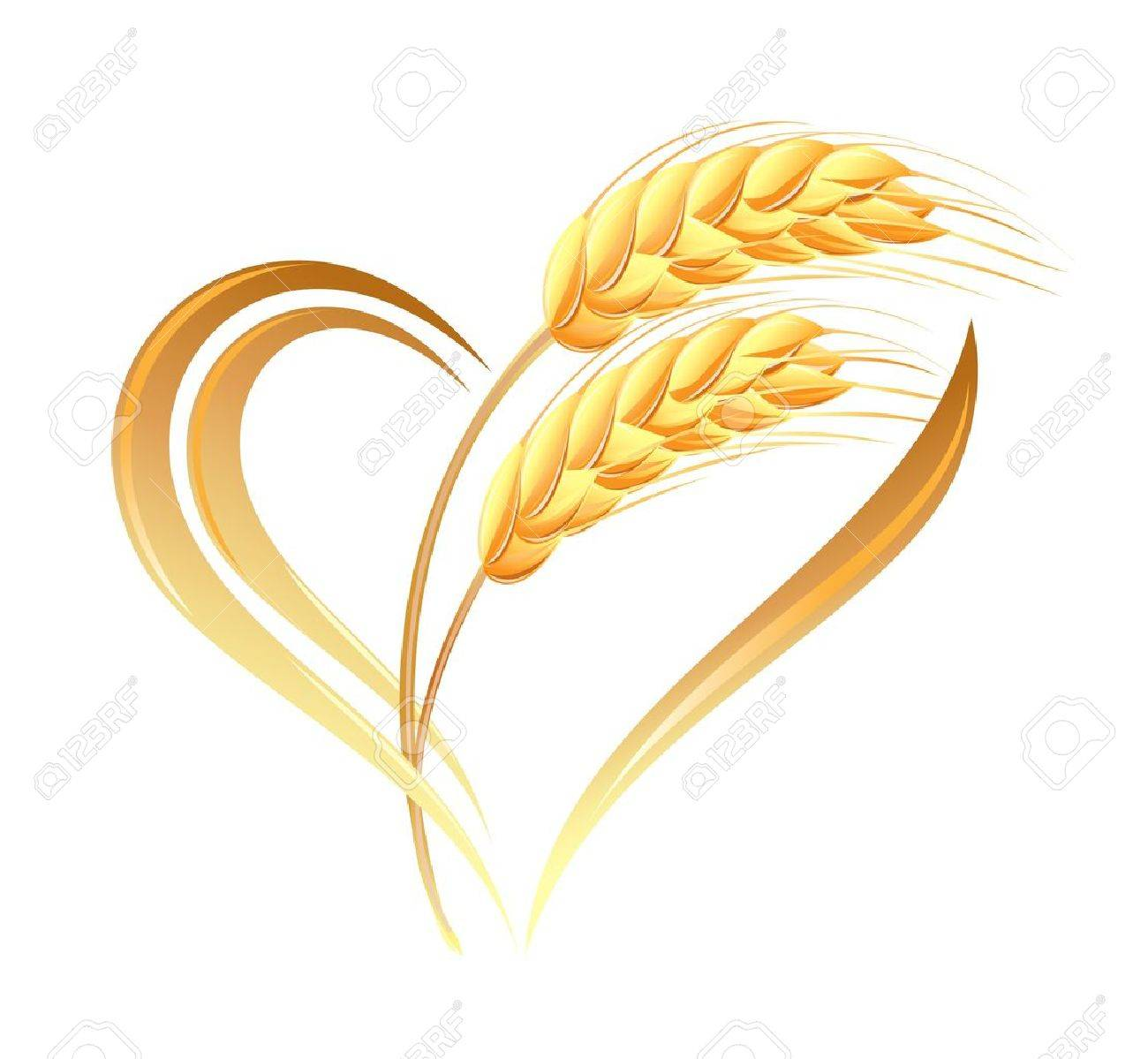 Abstract wheat ears icon with heart element Stock Vector - 15251902