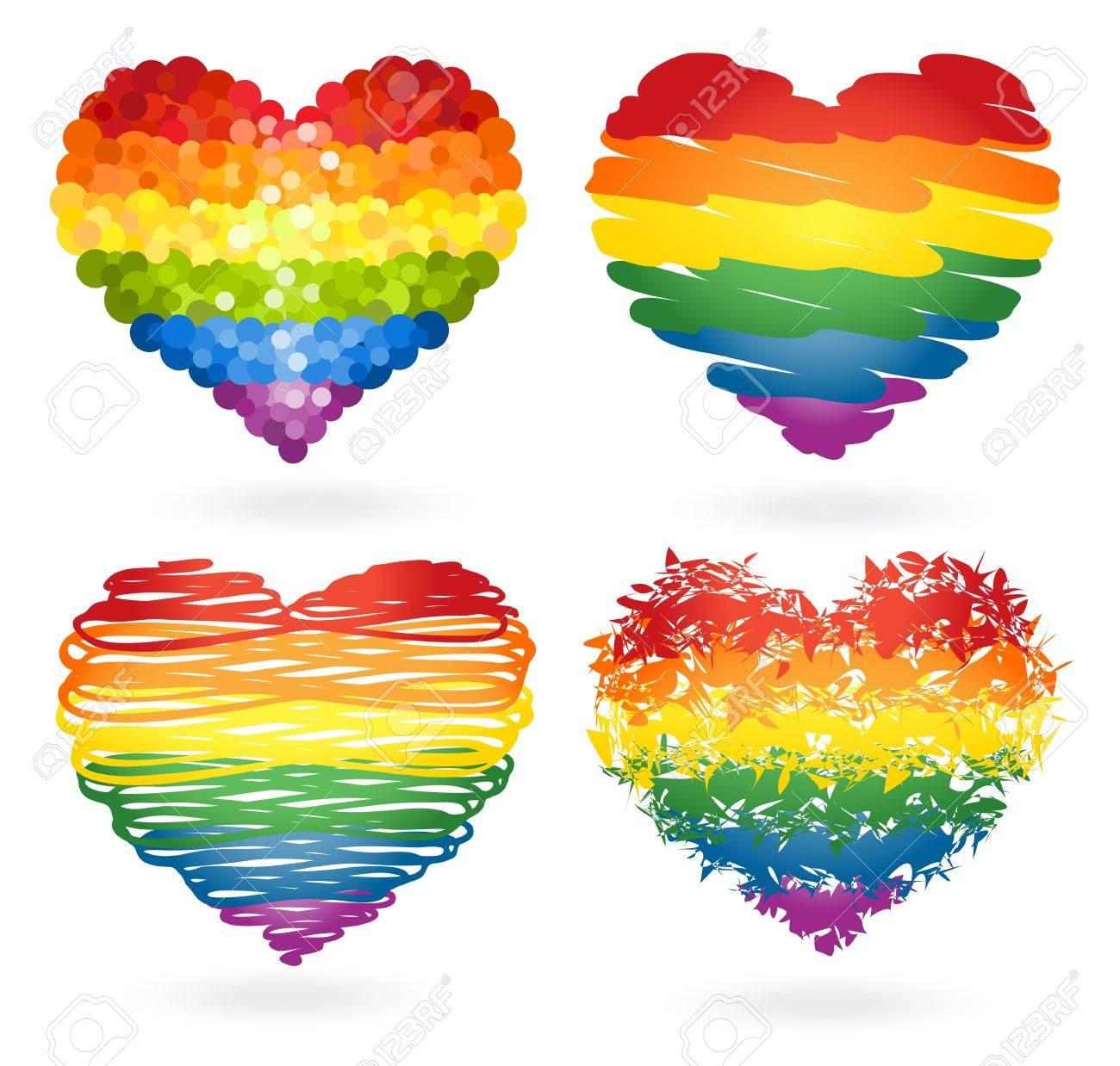 Set of rainbow hearts Stock Vector - 16650621