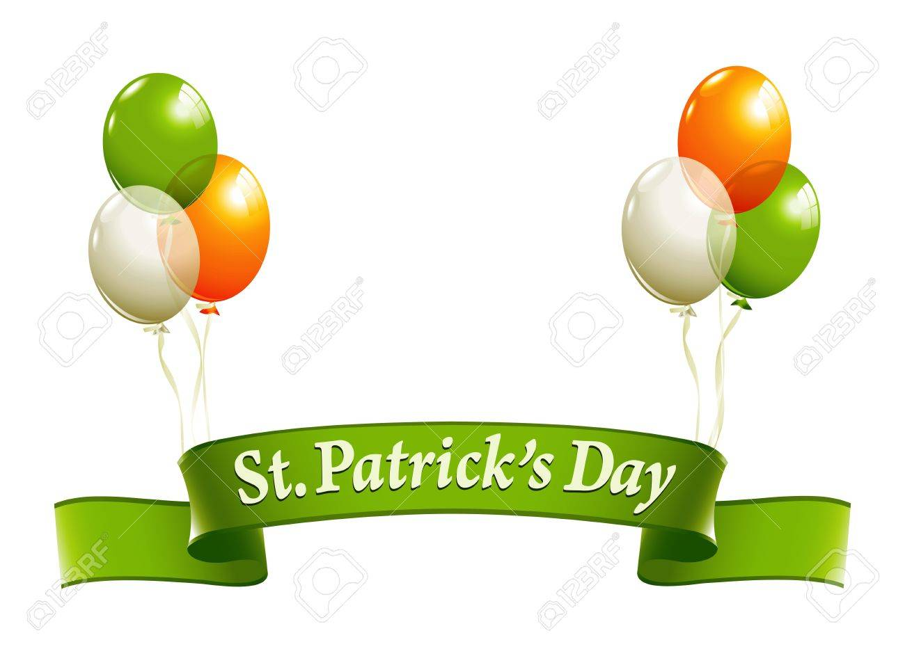 st patrick u0027s day banner with balloons in irish colors royalty free