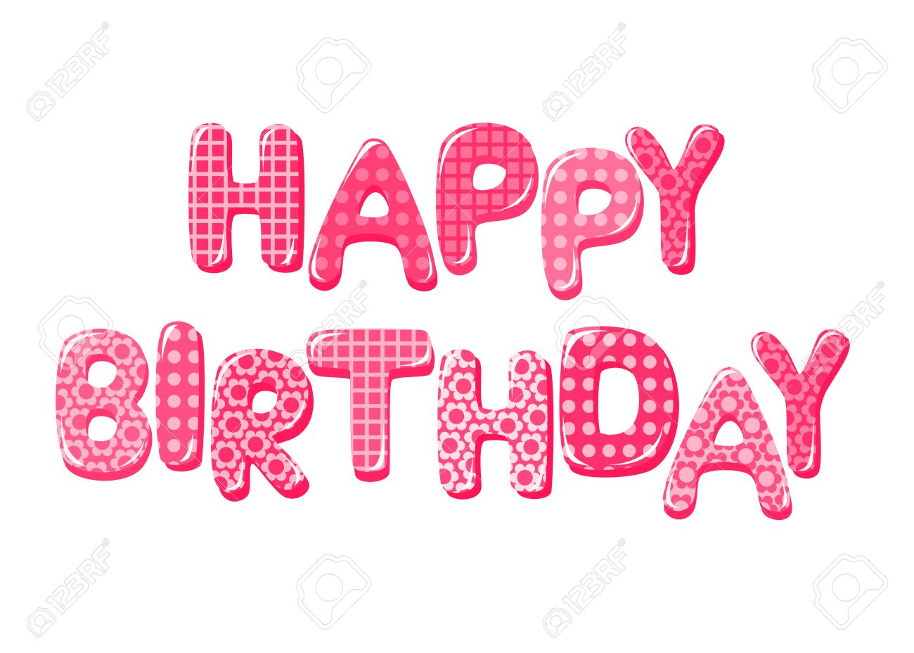 happy birthday letters in pink stock vector 26192638