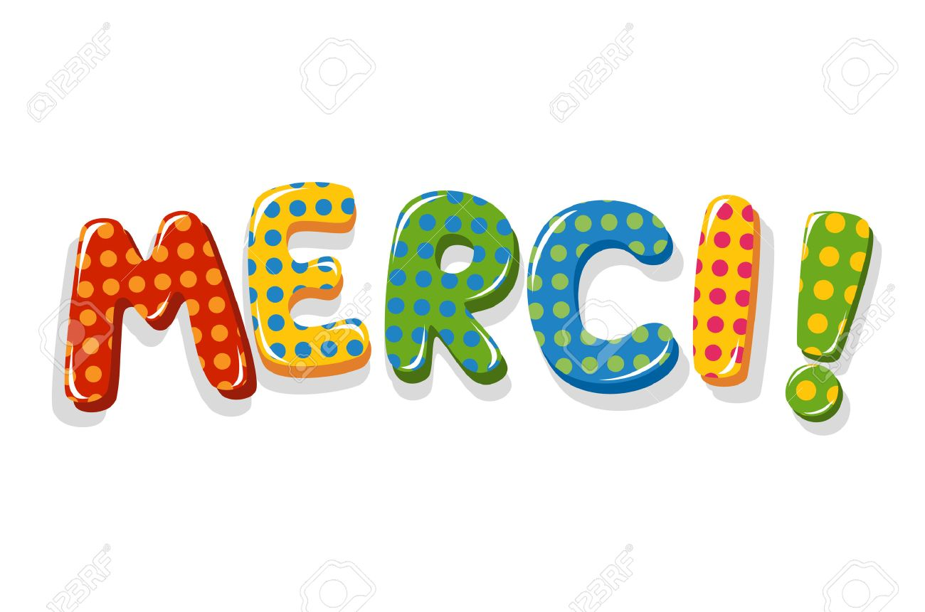 french word merci colorful lettering with polka dot pattern royalty rh 123rf com Image De Merci Blanket Clip Art