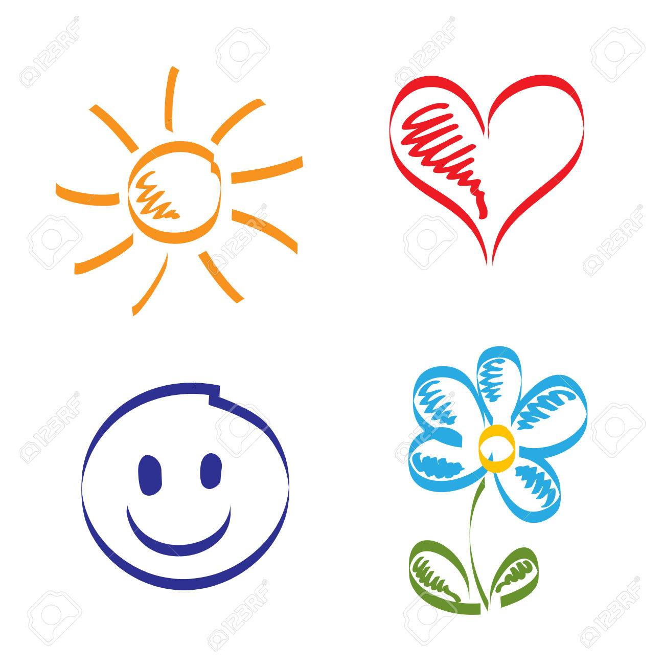 hand drawn of sun heart smile and flower royalty free cliparts rh 123rf com Free Vector Textures Free Sun Graphics