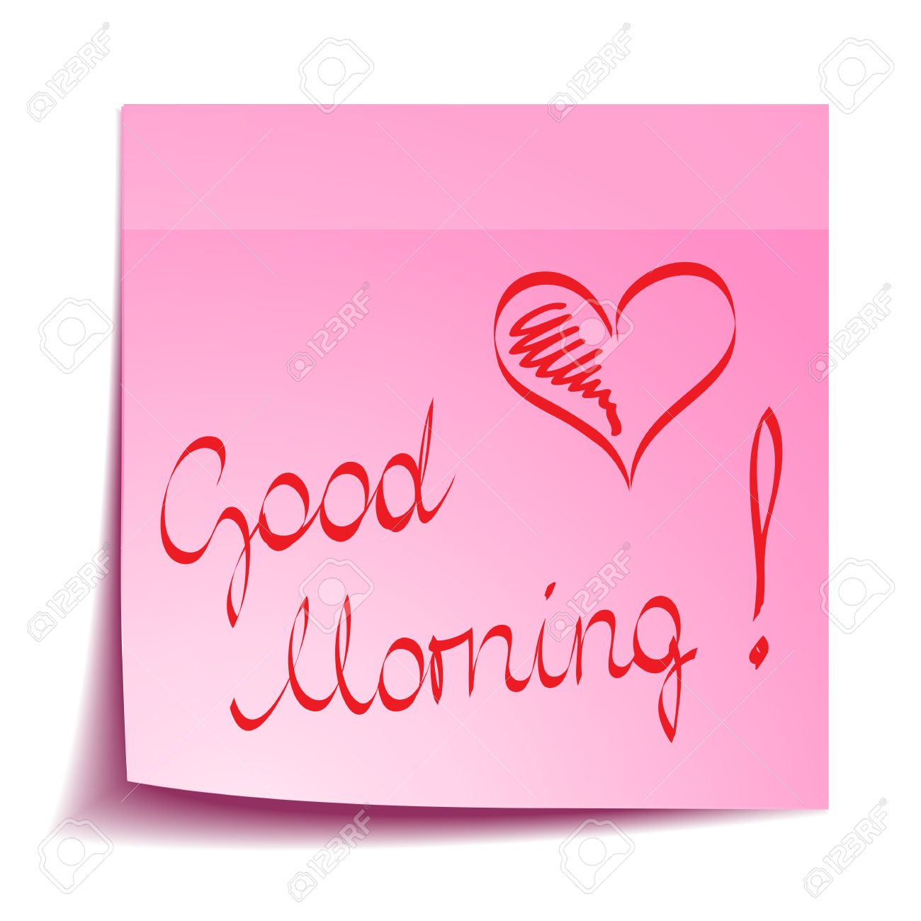 Good Morning Note With Heart Royalty Free Cliparts Vectors And