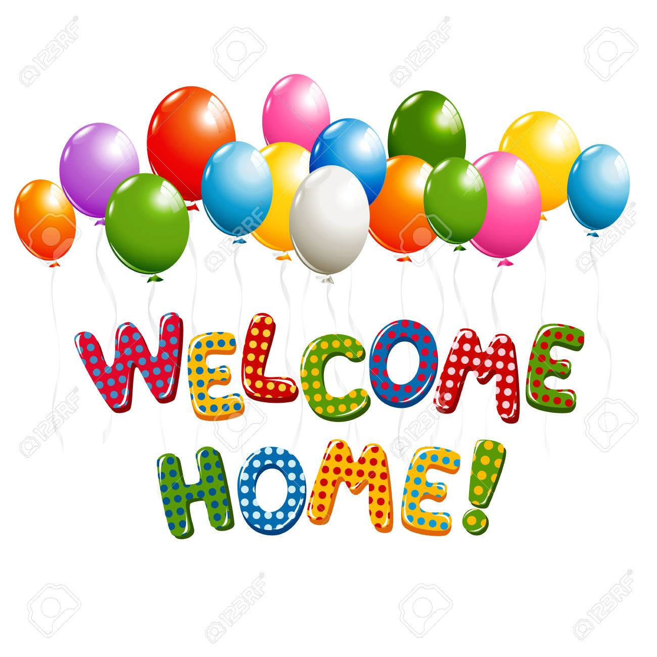 Welcome Home Text In Colorful Polka Dot Design With Balloons Royalty ...