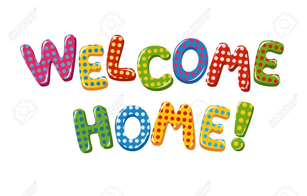 Welcome Home text with colorful polka dot design - 60238721