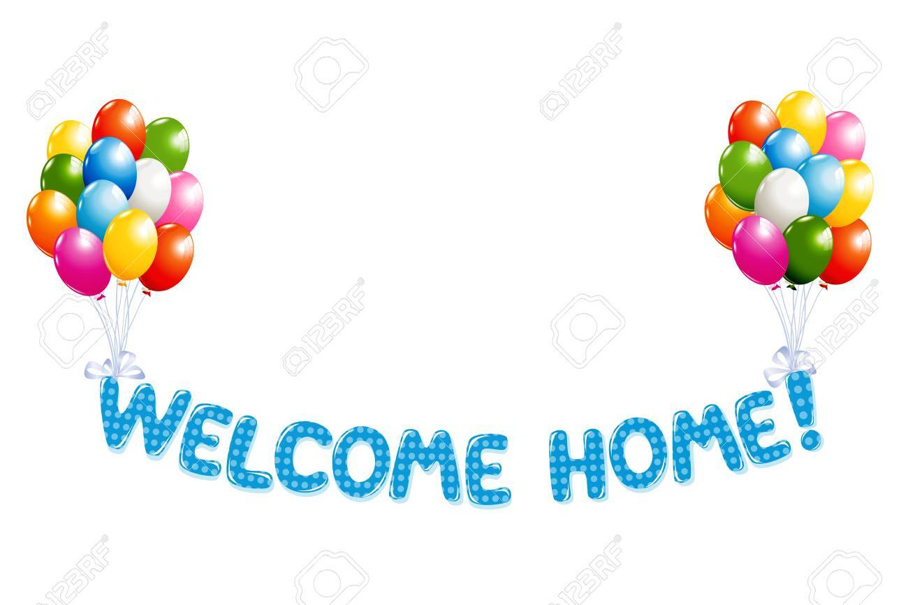 Welcome Home Text In Blue Polka Dot Design With Colorful Balloons ...