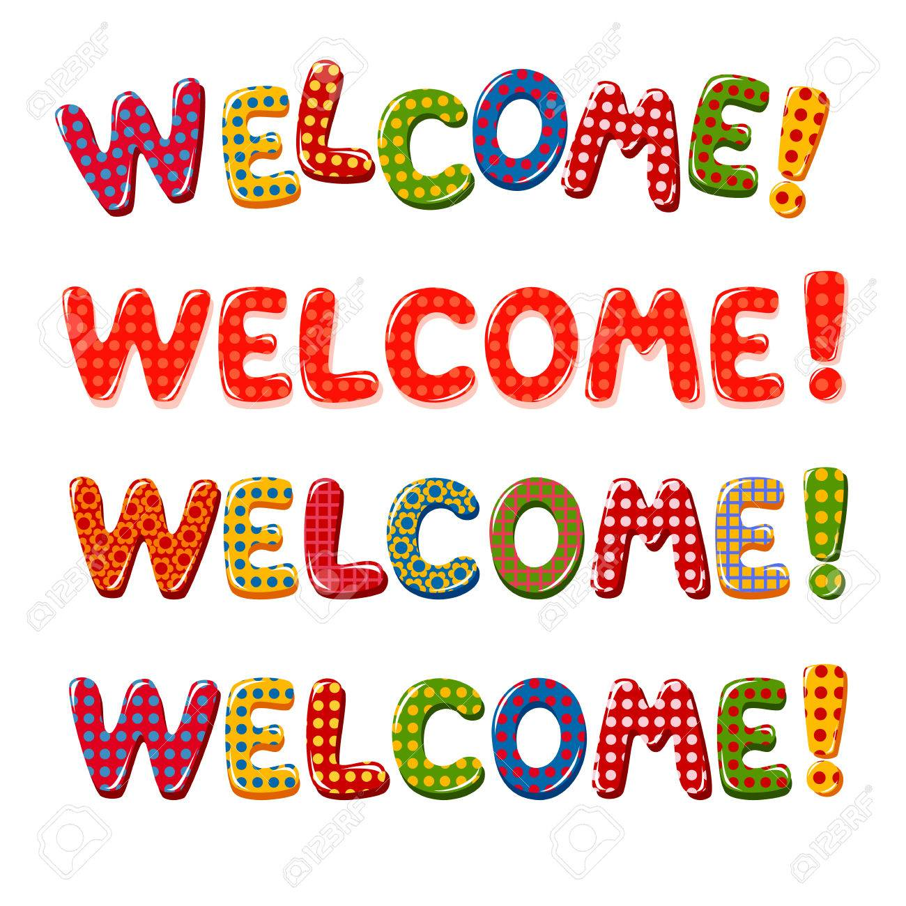 Welcome Home Text With Colorful Design Elements Royalty Free ...