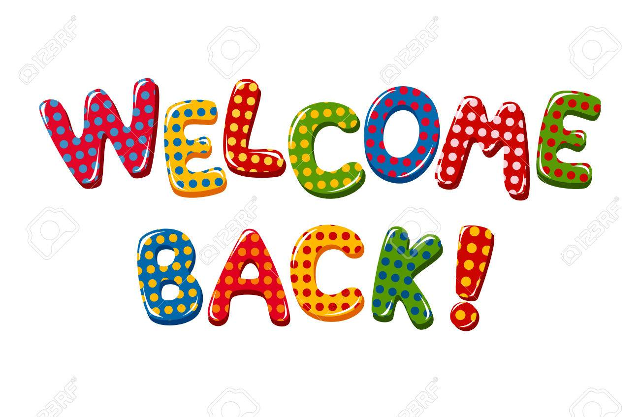 welcome back text in colorful polka dot design royalty free cliparts