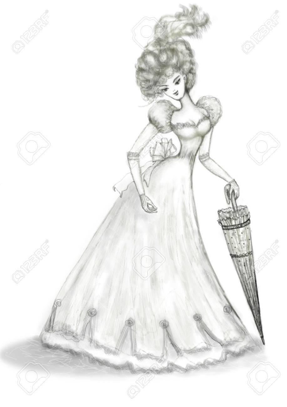 Robe Un Femme Canne Ajouré Parapluie Avec Dans Une Une Longue Une wZqTIqH