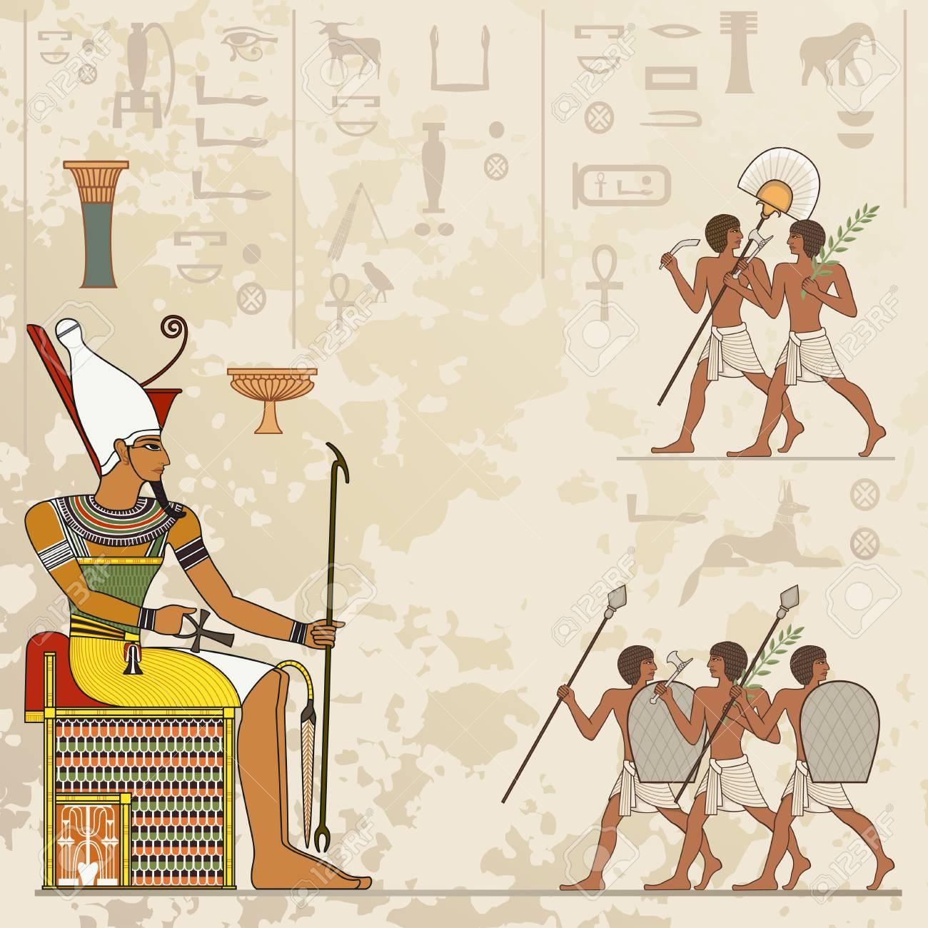 Peintures Murales Avec La Scène De L Egypte Antique Bannière Egypte Antique Hiéroglyphe égyptien Et Symbole