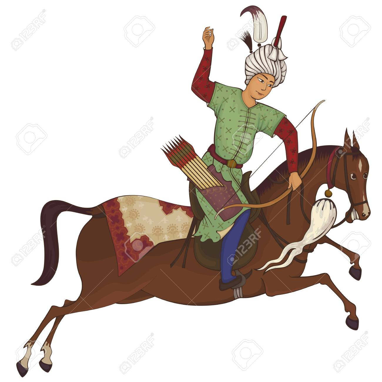 Horse Rider Persian Miniature Stylized Illustration Medieval Royalty Free Cliparts Vectors And Stock Illustration Image 137947522