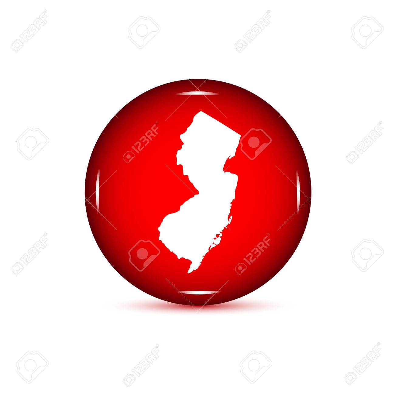 Map Of The US State Of New Jersey Red Button On A White - Us map all white red background