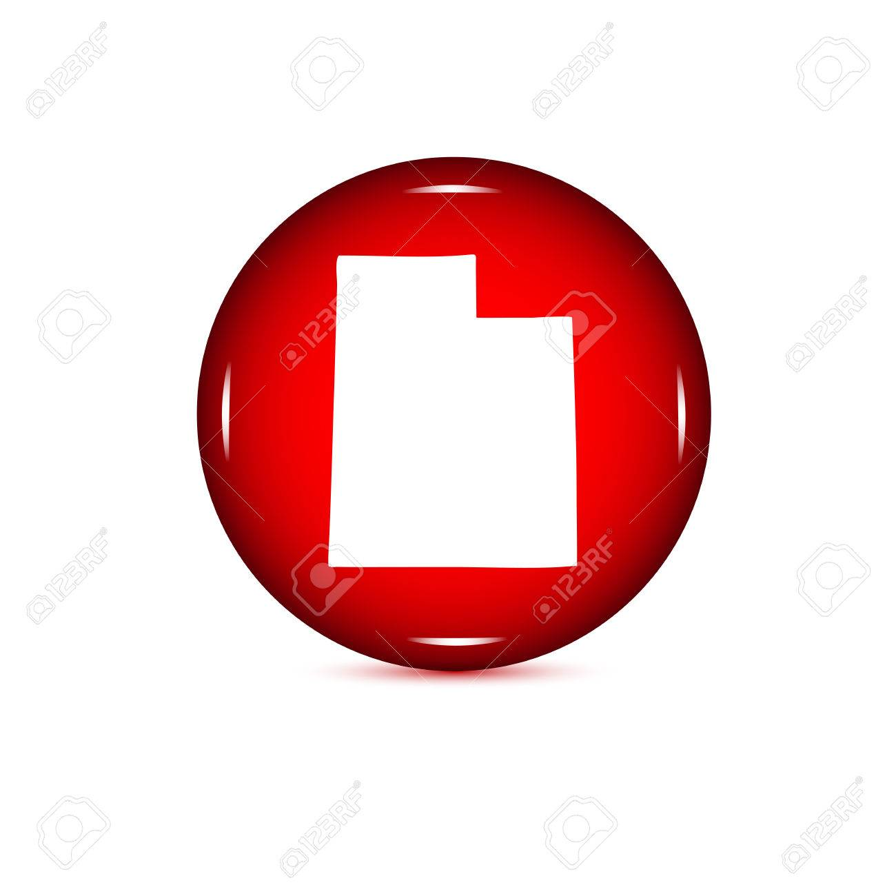 Map Of The US State Of Utah On A White Background Red Button - Us map all white red background