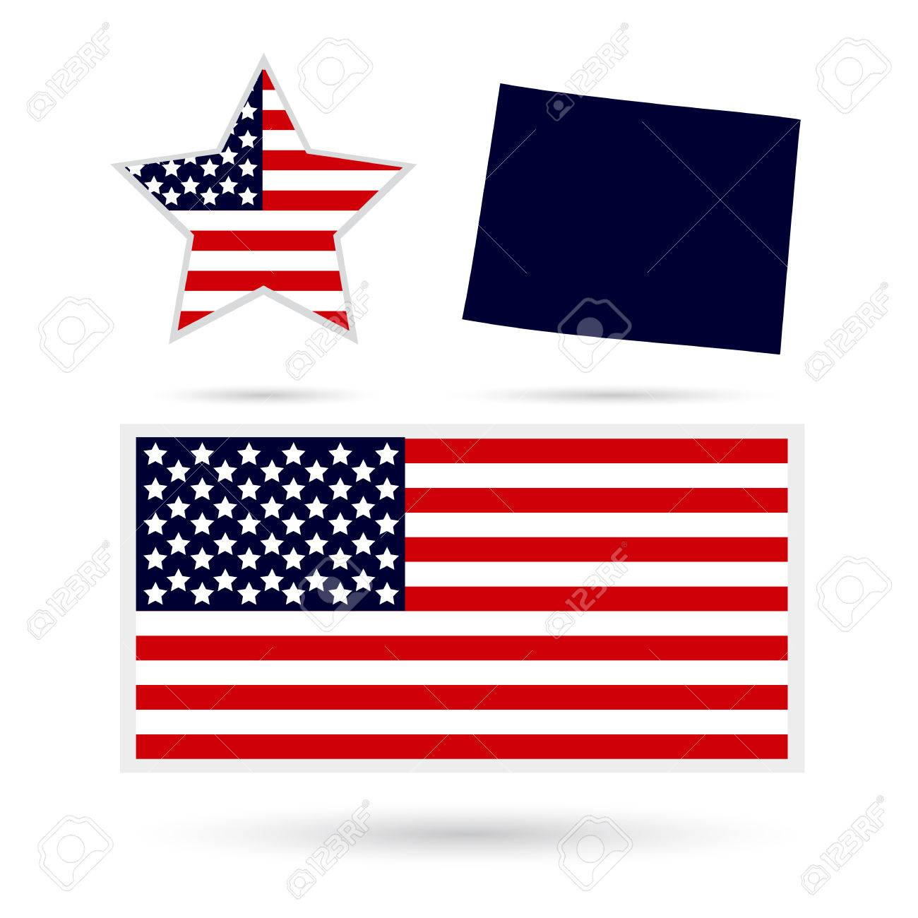 Us State On The Us Map Wyoming On A White Background American - American-flag-us-map
