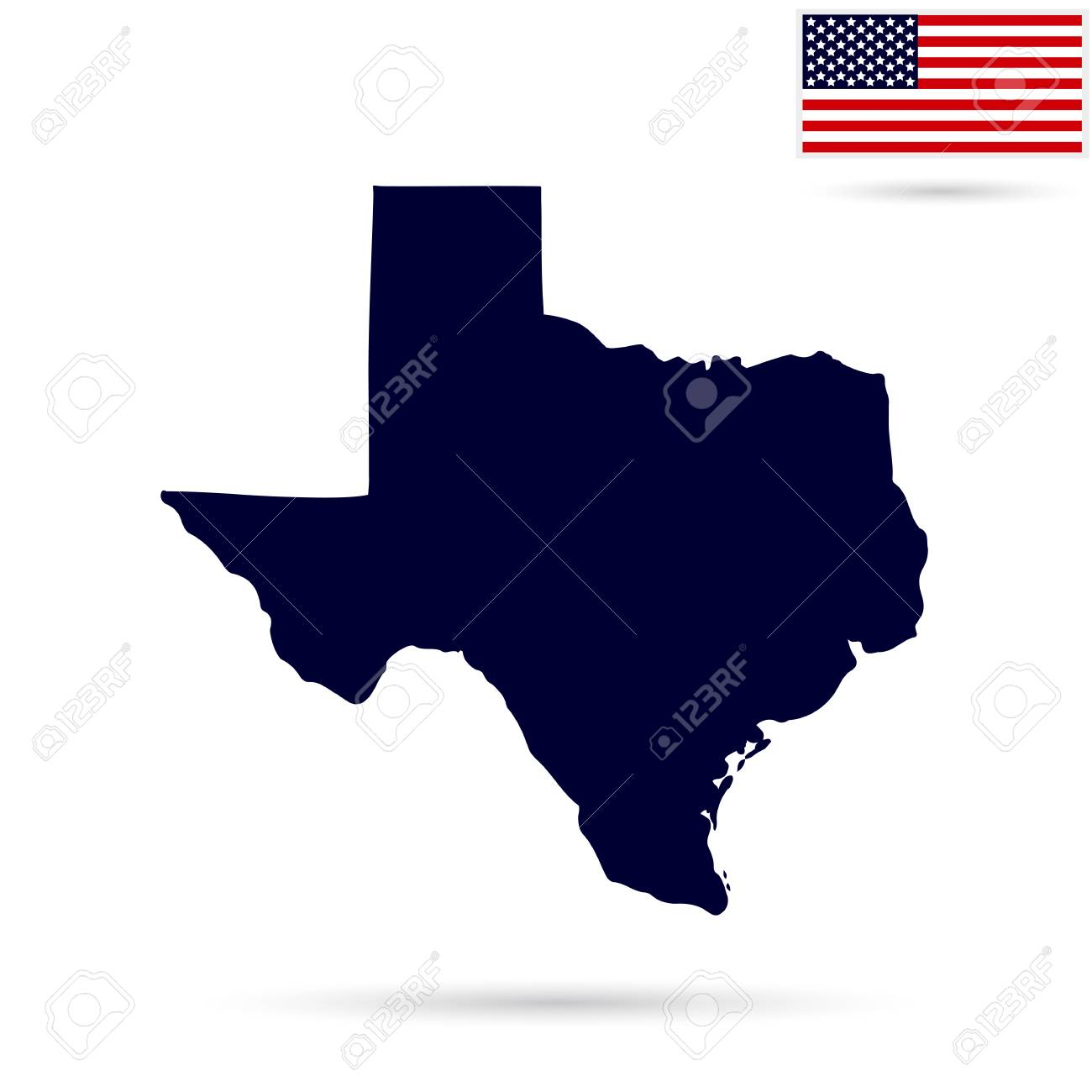 Map Of The Us State Of Texas On A White Backdrop With American - Texas-on-the-us-map