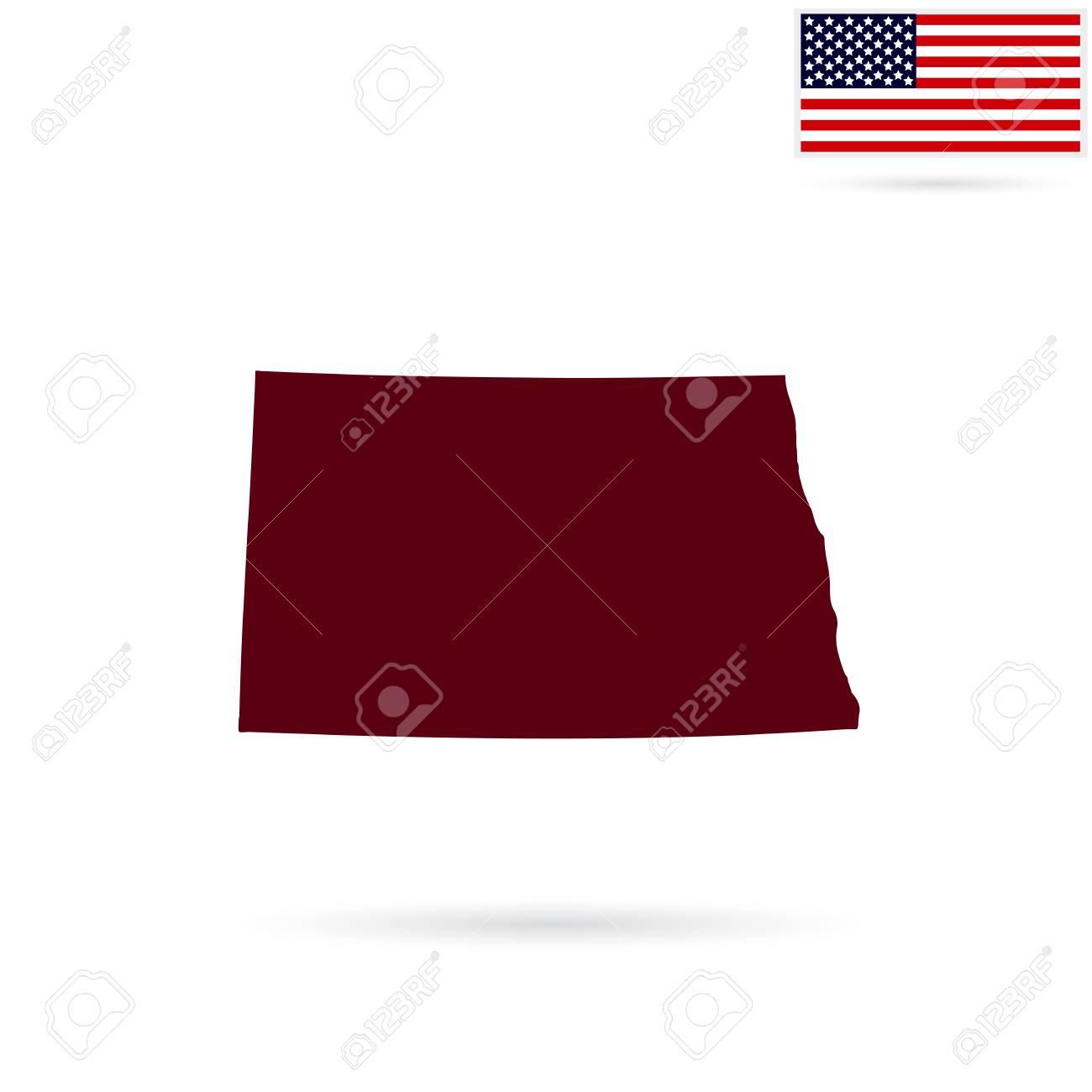 Us Map North Dakota.Map Of The U S State Of North Dakota On A White Background