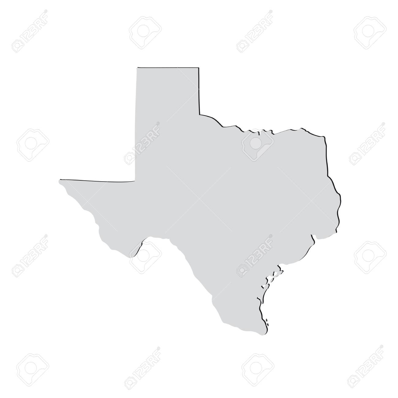 Map Of The Us State Of Texas On A White Background Royalty Free - Texas-on-the-us-map