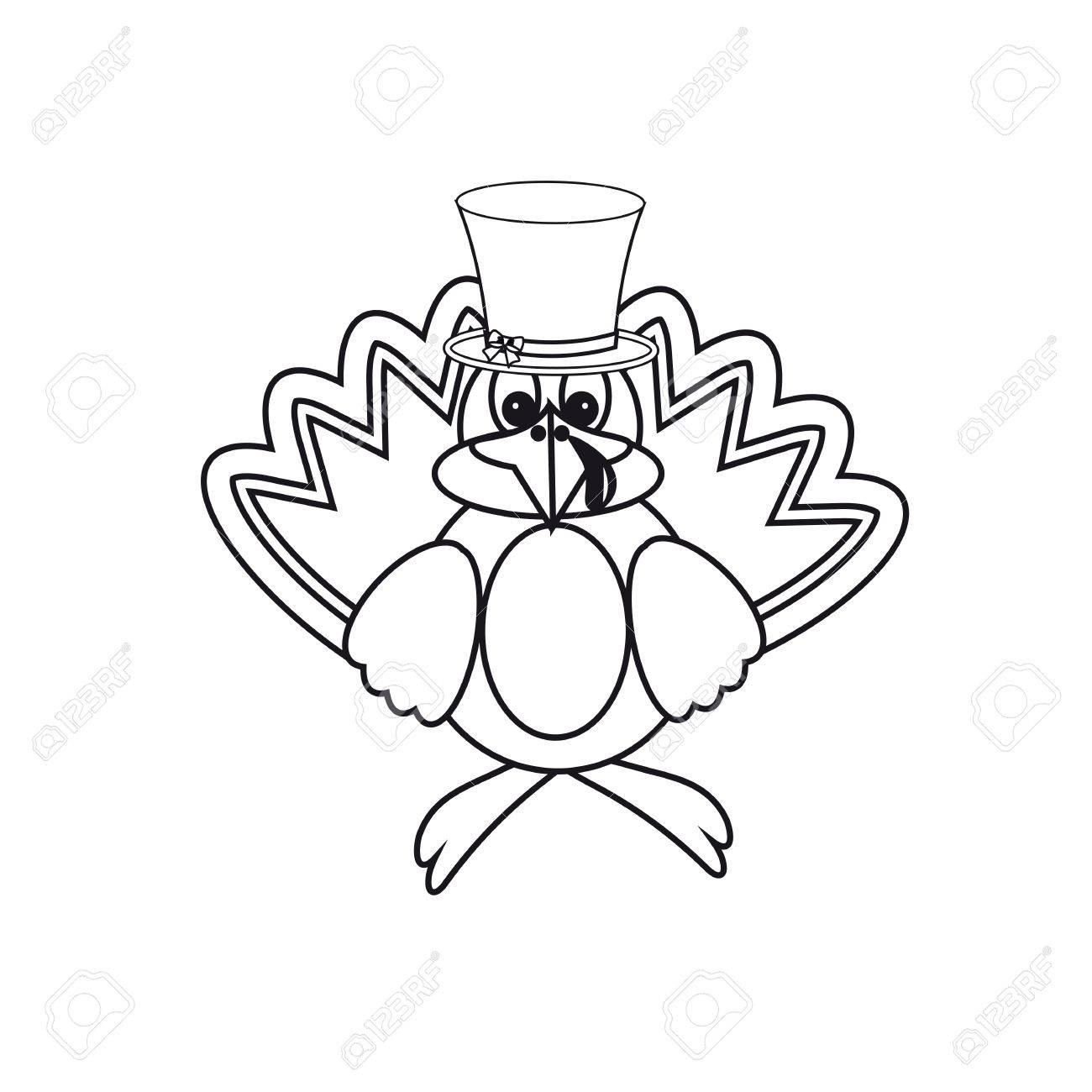 Symbol Schwarz Und Weiß Am Tag Der Thanksgiving-Truthahn Lizenzfrei ...