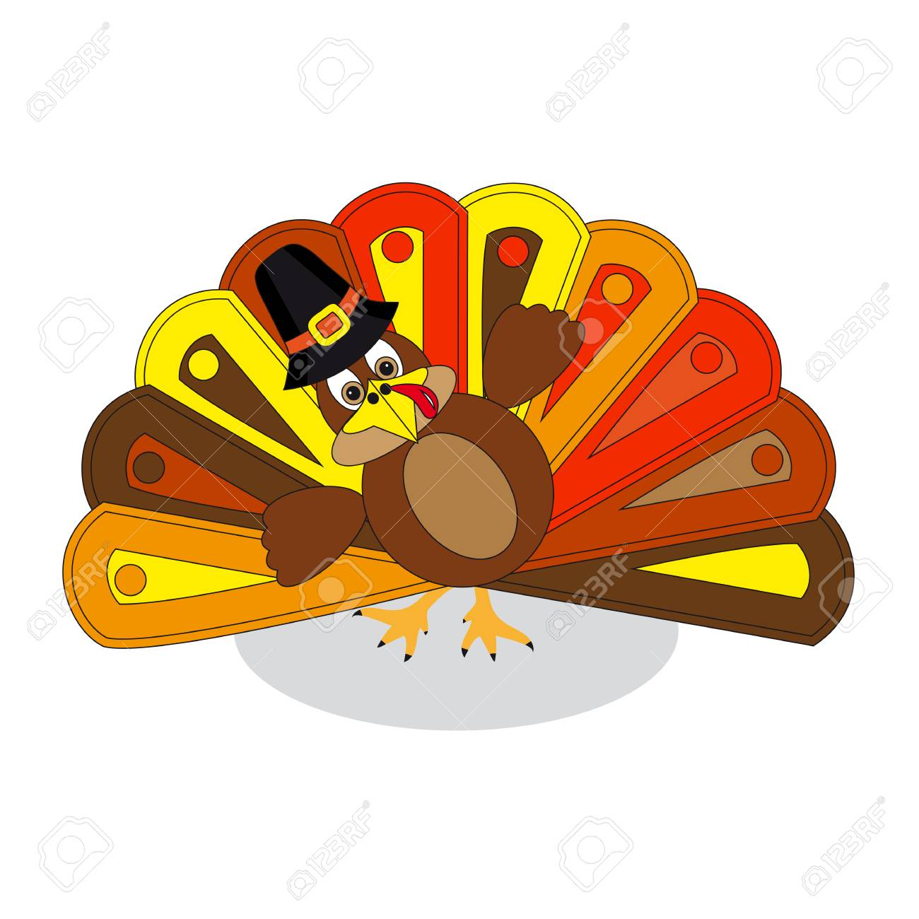colorful turkey to thanksgiving day white background royalty free