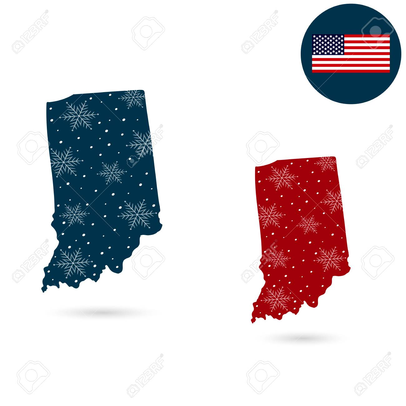 Map Of The U.S. State Of Indiana. Merry Christmas Royalty Free ...