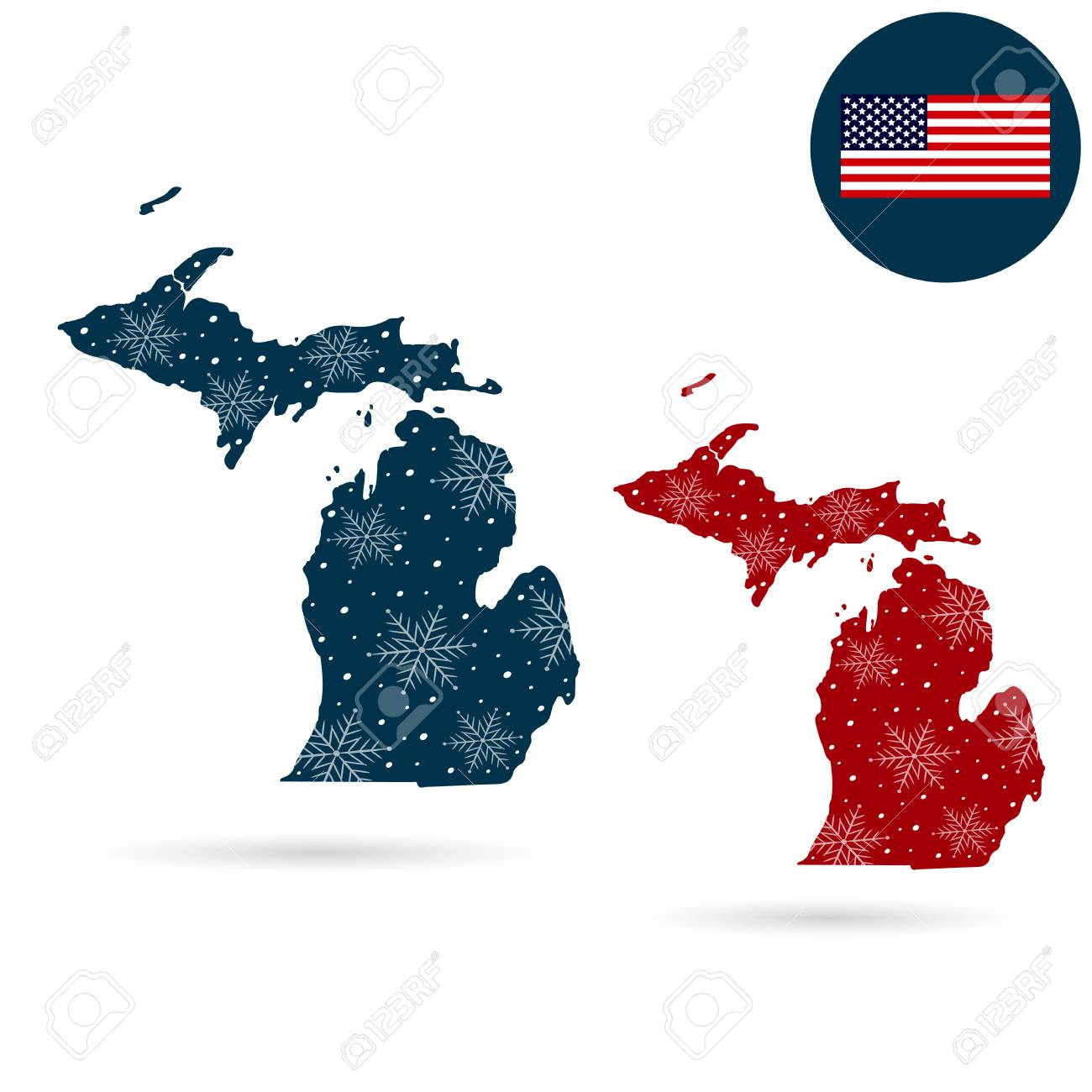 Map Of The U.S. State Of Michigan. Merry Christmas And Happy