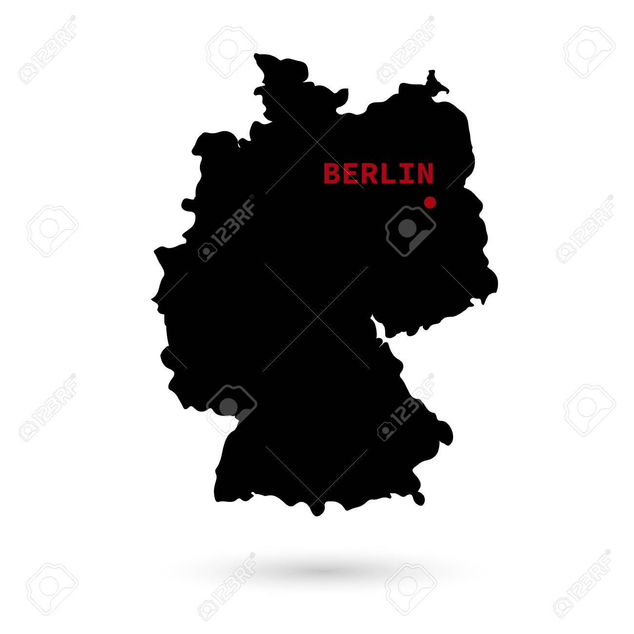 Capital Of Germany Map.Map Of Germany With The Designation Of The Capital On A White