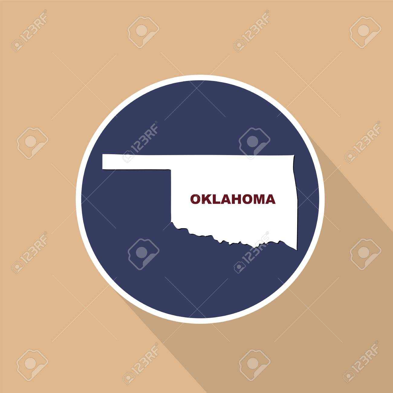 Map Of The U.S. State Of Oklahoma On A Blue Background. State ... S In Oklahoma Map on