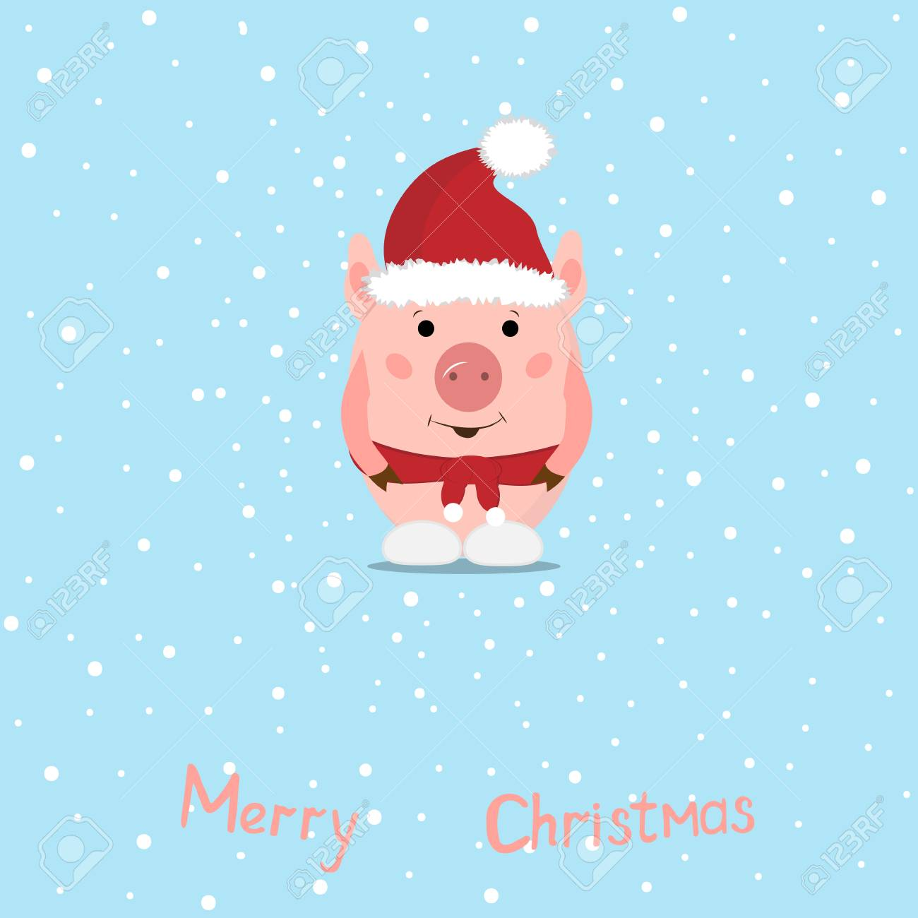 Christmas Pigs.Funny Christmas Pigs Greeting Card Merry Christmas And New Year