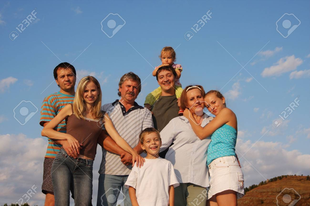 Happiness large family 2 Stock Photo - 9397810